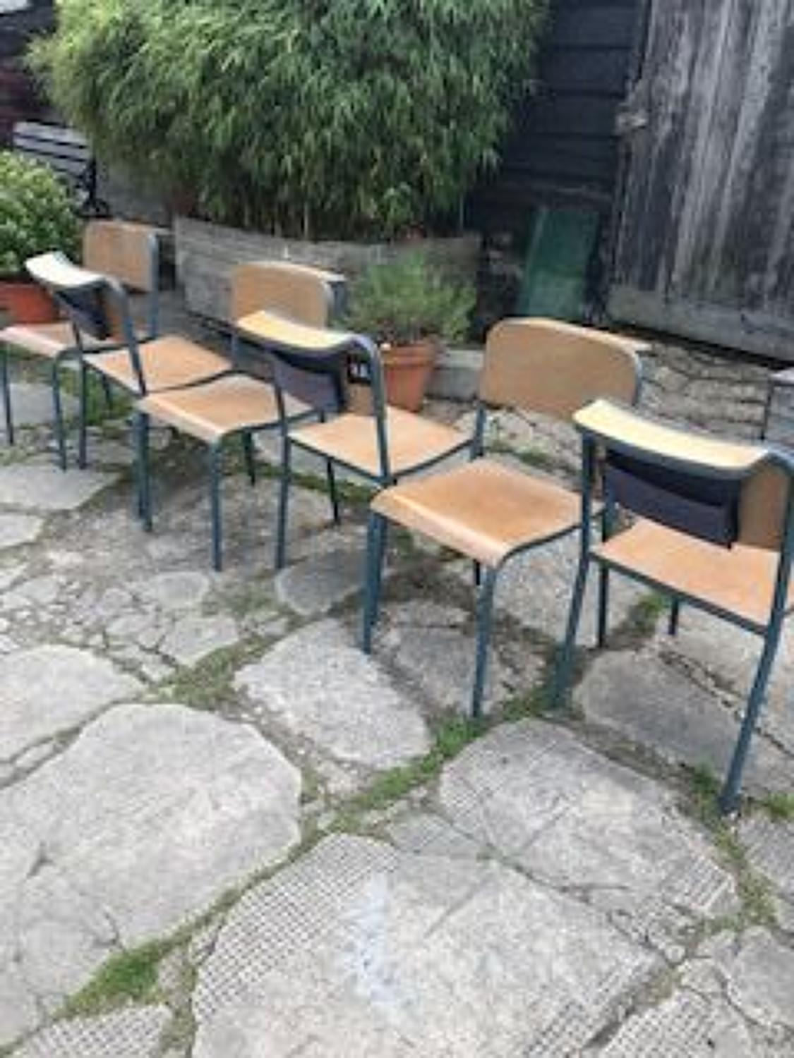 Set of 6 French Chapel Chairs Industrial Design