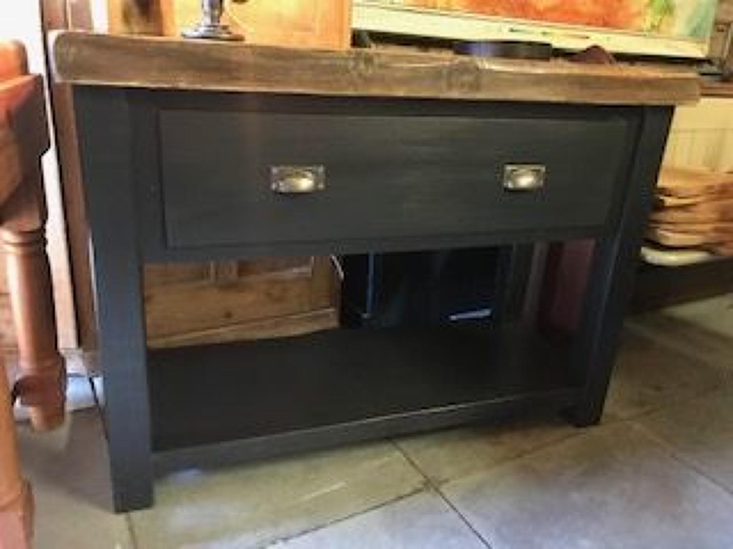 Pine Console / butchers block with a reclaimed top