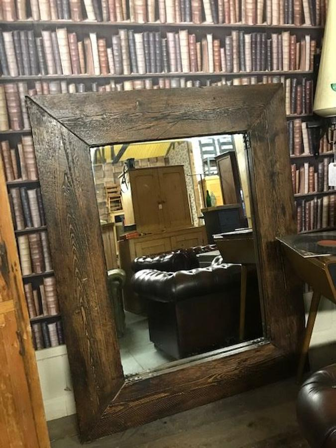 Large Reclaimed Pine Industrial Mirror