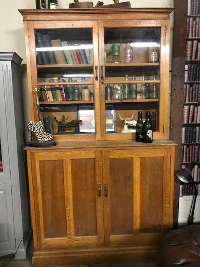 Vintage Oak School cupboard dresser bookcase.