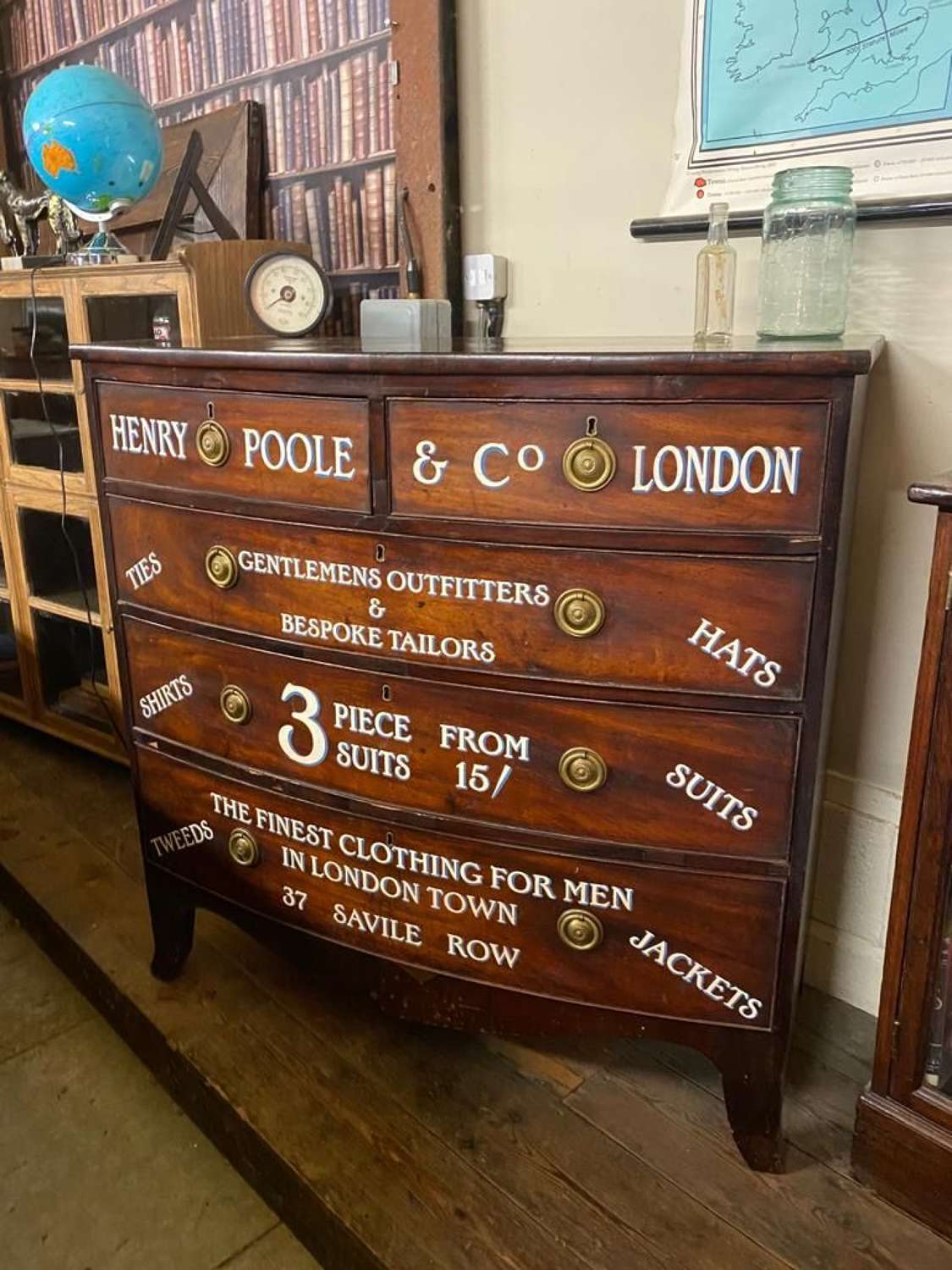 Mahogany Professionally sign written chest of drawers