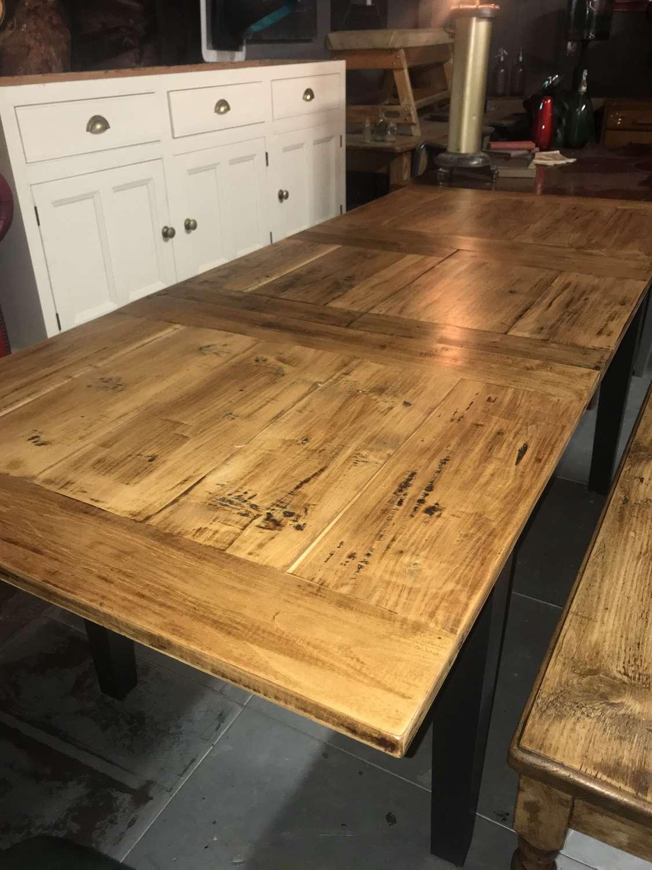 Reclaimed teak extending kitchen dining table