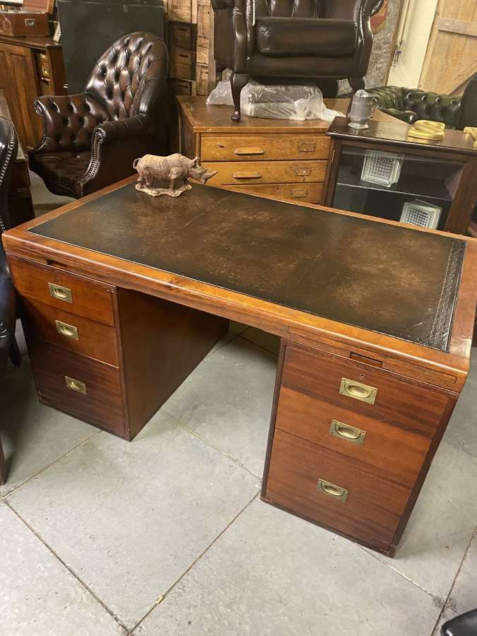 Mid Century military style teak partners desk with leather inlay