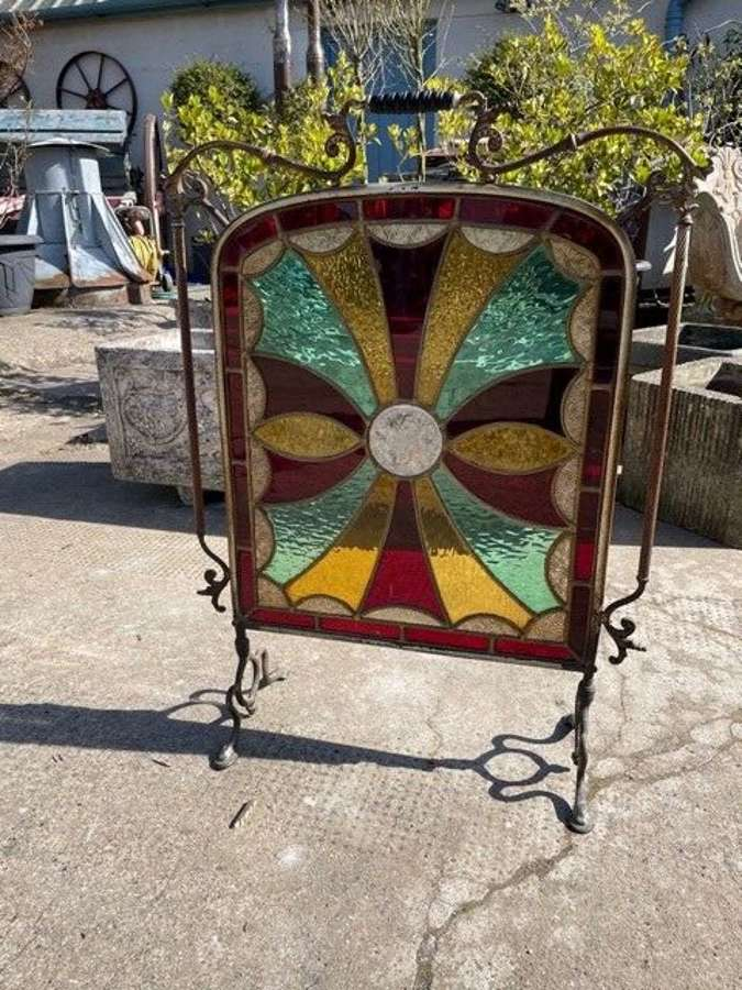 Stunning Art Nouveau stained glass fire screen