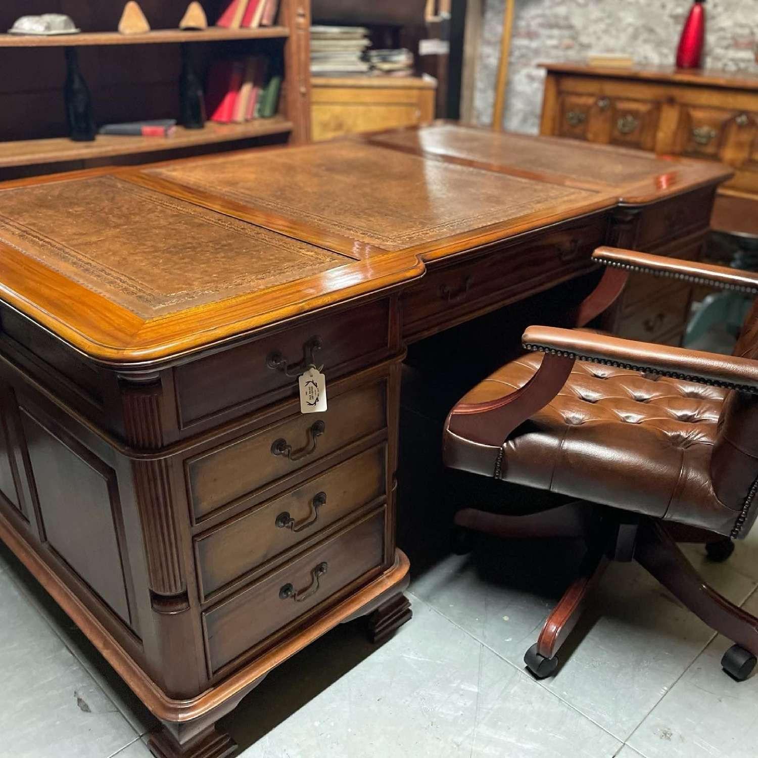 A Large solid Mahogany double sided Partners desk