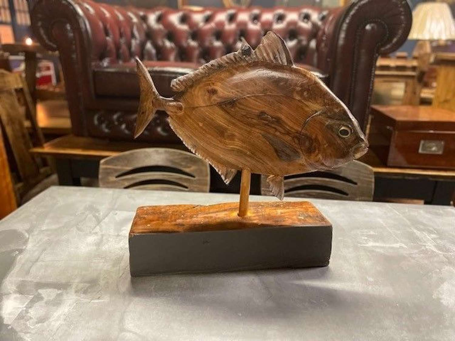 A stained and painted wood study of a fish by Clive Fredriksson