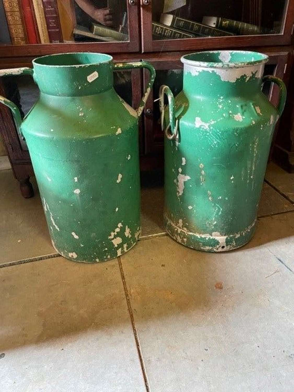 A Set of 4 French Painted galvanised metal Milk Churns